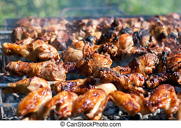 barbecue or fried chicken and pork meat