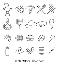 Barbecue or Grill Icons - Vector outline barbecue icons set...