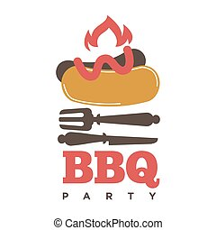 Barbecue or grill sausage logo template.