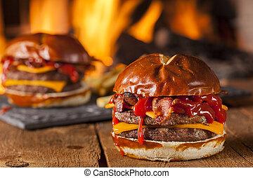 barbecue, pancetta affumicata, malsano, casalingo, cheeseburger