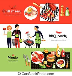 Barbecue Party 3 Horizontal Banners Set