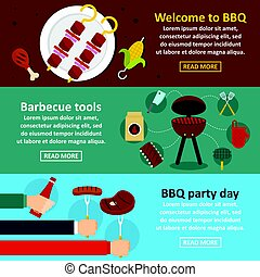 Barbecue party banner horizontal set, flat style