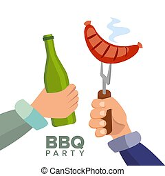 Barbecue Party Concept Vector. Cooked Hot Sausage. Hand Holding A Bottle Of Beer. Invitation Card. BBQ Grill Picnic. Isolated Flat Cartoon Illustration