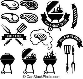 Barbecue party emblem - bbq and grill
