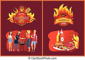 Barbecue Party Emblems with Flame and Grill Set