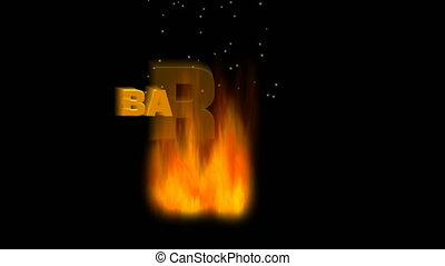 Barbecue party. Flames burning on a dark night background, sparks fly up, a fiery letters appears. Invitation to a night party by the fire