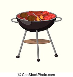 Barbecue party grill with steaks, cutlets, sausages cartoon vector Illustration