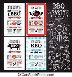 Barbecue party invitation. BBQ template menu design. Food...