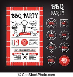 Barbecue party invitation. BBQ template menu design.