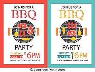 Barbecue party invitation. BBQ template flyer