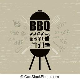 barbecue party invitation design template, vector illustration