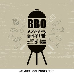 barbecue party invitation design template, vector illustration