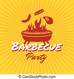 Barbecue party logo template