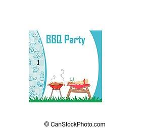 Barbecue Party menu card Invitation