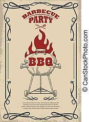 Barbecue party. Poster template with bbq grill. Design element for card, flyer, banner, emblem. Vector illustration