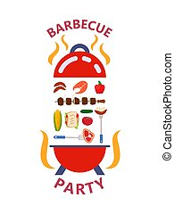 Barbecue party products set concept vector illustration flat style isolated. Grilled food outdoor family kitchen meat, salmon, barbecue, sausages, vegetables.