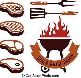Barbecue party - steaks grill