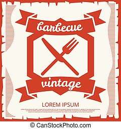 Barbecue party vintage poster design with emblem
