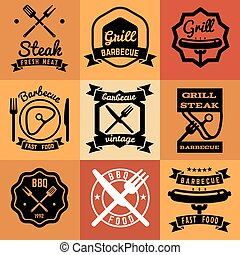 Barbecue party vintage vector emblems, labels, logos for BBQ steak posters