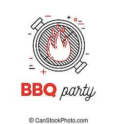 Barbecue party with grill and fire