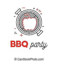 Barbecue party with grill and pepper