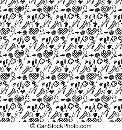 Seamless barbeque pattern in with meat