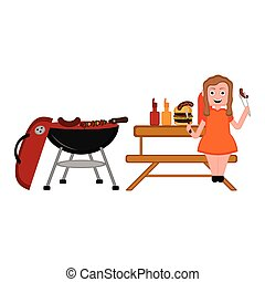Barbecue picnic and a girl eating a sausage