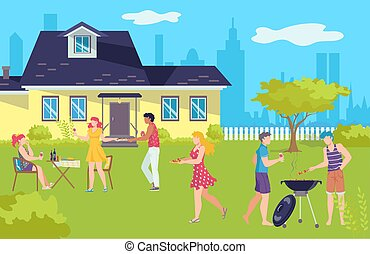 Barbecue picnic in summer, grill bbq holidays vector illustration. Barbeque on vacation, happy people outdoor, group of friends.