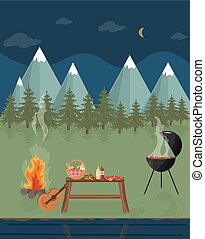 Barbecue picnic in the mountains at night. Green nature Vector flat styles
