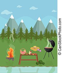 Barbecue picnic in the mountains. Green nature Vector flat style
