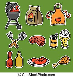 barbecue picnic stickers