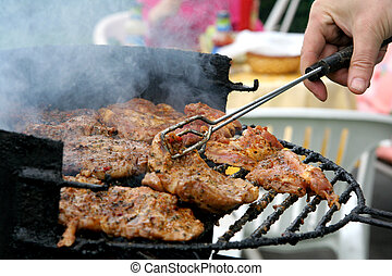 Barbecue - Old grill, steaks and sausages