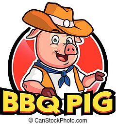 Barbecue Pig Cartoon Mascot