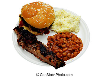 Barbecue Plate - Barbecue plate with sandwich, pork ribs,...