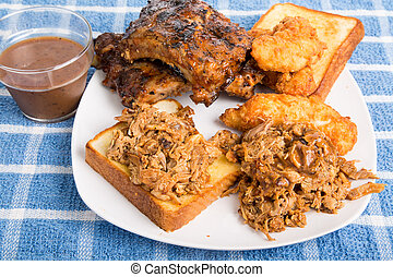Barbecue Plate with Bread and Sauce