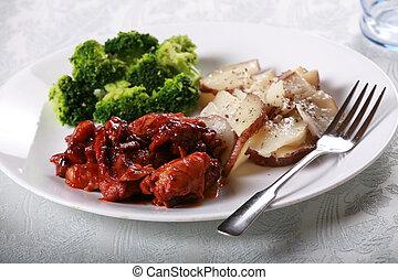 barbecue, pollo, pasto, delizioso
