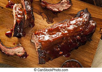 barbecue, porc, fumé, côtes découvertes