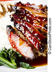 barbecue pork ribs rice - chinese style barbecue pork ribs...