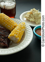 Barbecue Pork Spare Ribs with Corn and Potato Salad