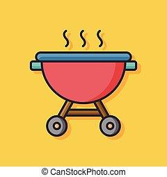 barbecue pot vector icon