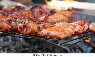 barbecue, poulet, jambes, ailes
