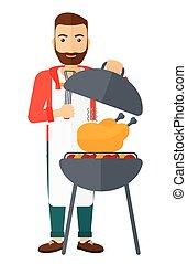 barbecue., préparer, homme