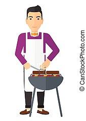barbecue., preparare, uomo