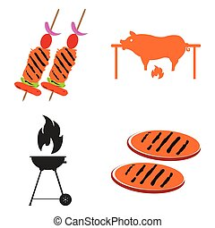 barbecue, ralted, ensemble, objets