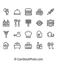 Barbecue related icon set. Vector illustration