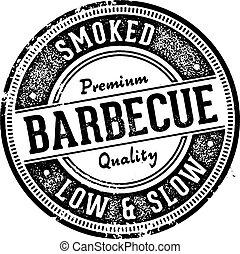barbecue, restaurant, signe, vendange, style, barbecue