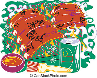 Barbecue Ribs - Stylized art of bbq ribs with brush and beer...
