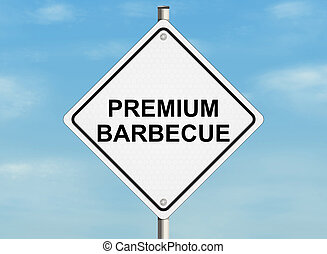 Barbecue. Road sign on the sky background. Raster illustration.