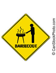 Barbecue - Road sign shows barbecue.