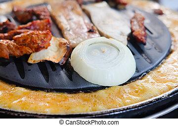 barbecue, sätta, nötkött, restaurang